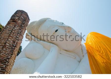 Reclining Buddha of Wat Khun Inthapramun at Angthong Province Thailand - stock photo