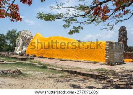 Reclining Buddha of Wat Lokaya Sutha in Ayutthaya, Thailand - stock photo