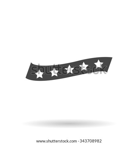 Recommended bestseller star ribbon. Flat icon on grey background with shadow - stock photo