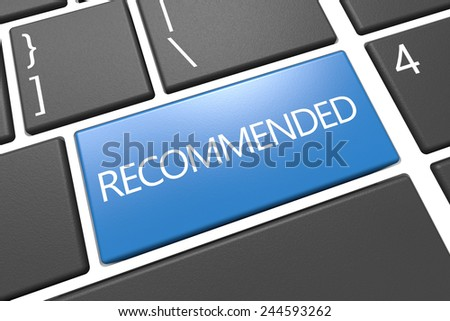 Recommended - keyboard 3d render illustration with word on blue key