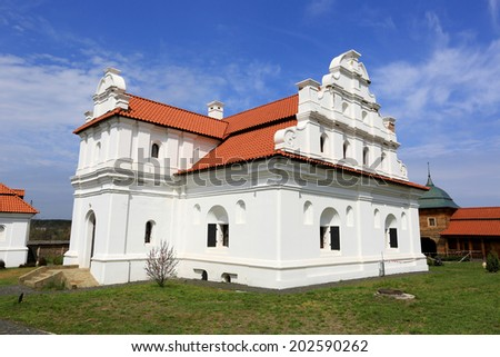 """reconstructed church in National Historic and Architectural Complex """"Residence Bohdan Khmelnytsky"""". Ukraine, Chyhyryn town - stock photo"""