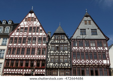 Reconstructed half-timbered houses of the Ostzeile (Eastline) at the Romerberg in Frankfurt am Main, Hesse, Germany.