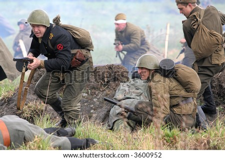 Reconstruction of the Russian-Germany Battle (1941-1945 Great War) Russia, Kaliningrad,  May, 2007 - stock photo