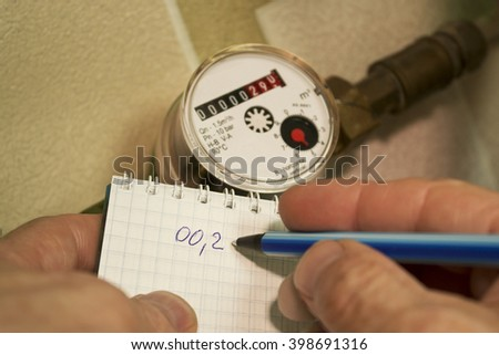 Record evidence of water flow measurement device - stock photo