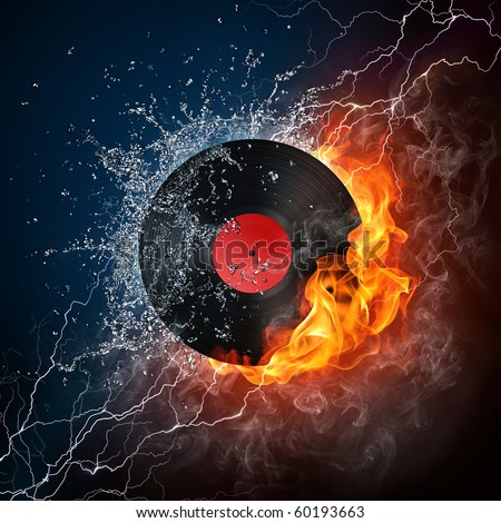 Record in fire and water. Illustration of the record enveloped in elements on black background. High resolution record in fire and water image for a DJ party poster.