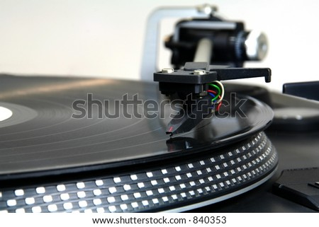 record on turntable 4 - stock photo