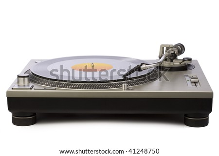 Record player. Isolated against white background. - stock photo