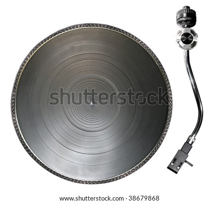 Record player or turntable parts isolated over white background - stock photo