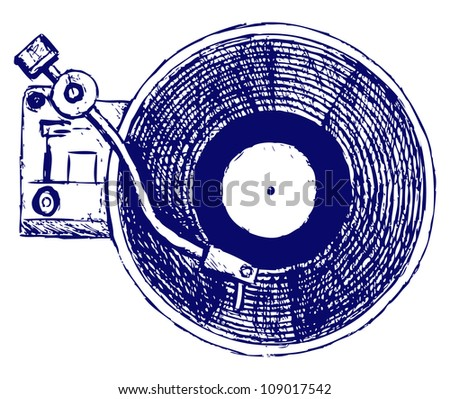 Record player vinyl record. Raster