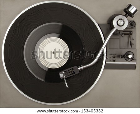Record player with vinyl phonorecord - stock photo