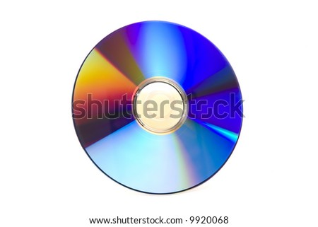 Recordable Blank DVD Disk isolated against white background - stock photo