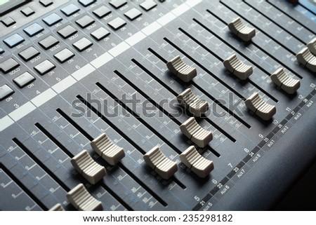 Recording studio equipment. Professional audio mixing console.  - stock photo