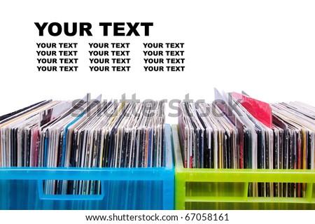 Records in plastic boxes, closeup - stock photo