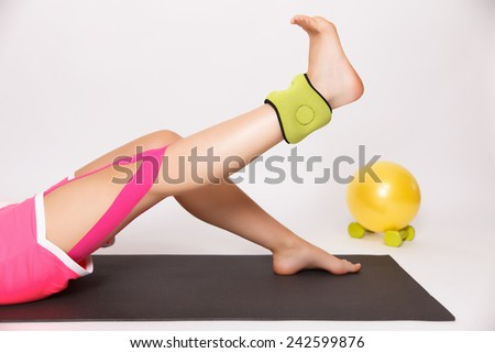 Recovering exercise for injured leg - stock photo