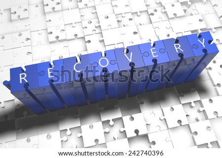 Recovery - puzzle 3d render illustration with block letters on blue jigsaw pieces