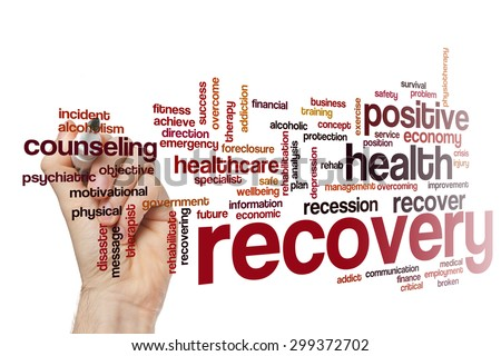 Recovery word cloud - stock photo
