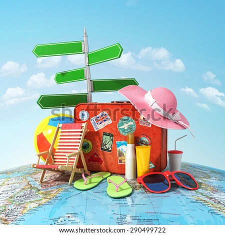 Recreation and travel concept. Road sign, old suitcase for travel, beach hat, beach ball, sunglasses, sun cream and beach shoes on the world map and blue sky. Direction to recreation. - stock photo