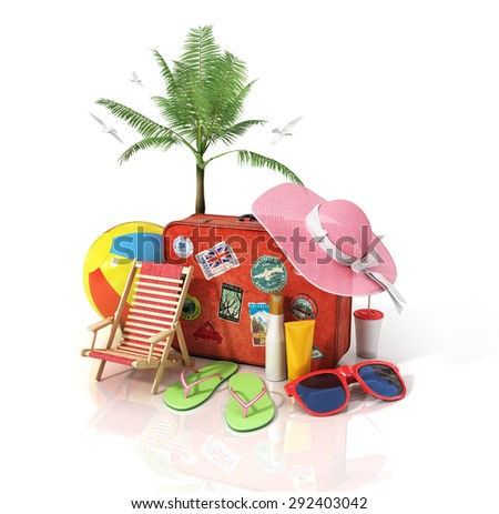 Recreation and travel concept. Road sign, old suitcase for travel, beach hat, beach ball, sunglasses, tropic palms, sun cream and beach shoes on the white background. - stock photo