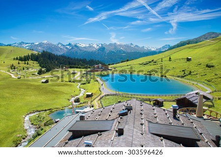 Recreation area Komperdell in Serfaus, Tirol - stock photo