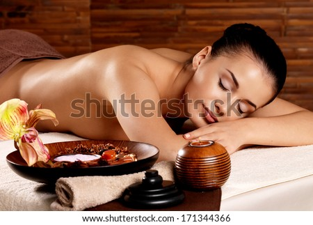 Recreation therapy for woman after massage in spa salon. Beauty treatment concept. - stock photo