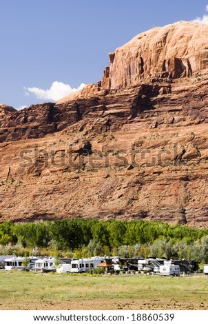 recreational vehicles in a campground in the southwest - stock photo