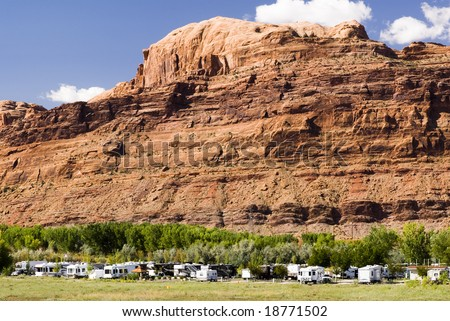 recreational vehicles in a campground in the southwest, USA - stock photo