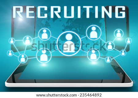 Recruiting - text illustration with social icons and tablet computer and mobile cellphones on cyan digital world map background - stock photo