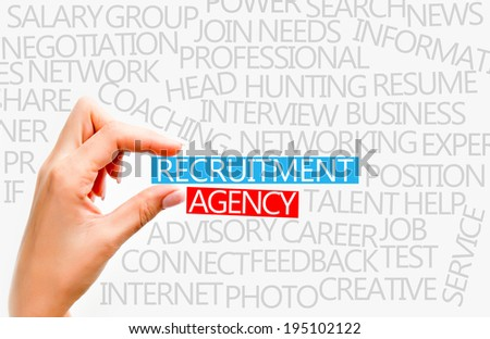 Recruitment agency concept with popular words from this industry - stock photo
