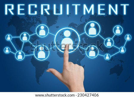 Recruitment concept with hand pressing social icons on blue world map background. - stock photo