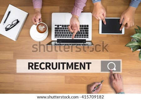 RECRUITMENT man touch bar search and Two Businessman working at office desk and using a digital touch screen tablet and use computer, top view - stock photo