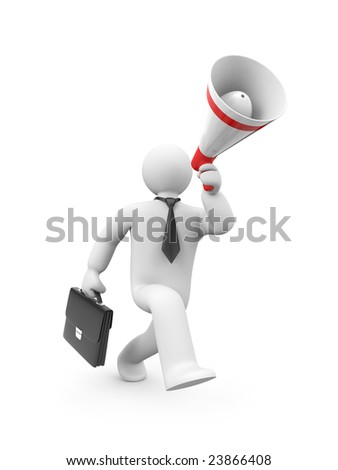 Recruitment of workers. The businessman calls for something. Probably makes recruitment of workers - stock photo