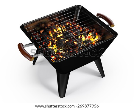 Rectangle Charcoal Grill on White - stock photo