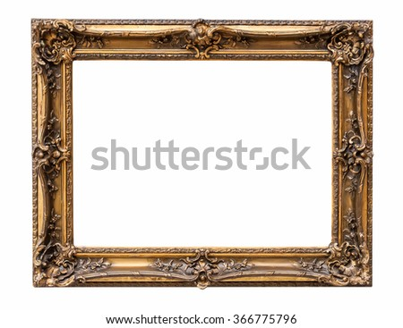 Rectangle decorative bronze picture frame isolated on white background with clipping path - stock photo