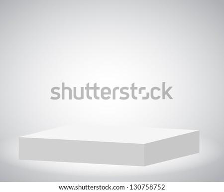 Rectangle enlighten podium on white background - stock photo