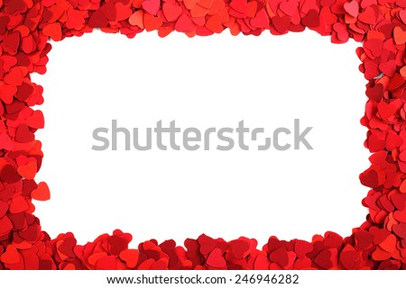 Rectangle frame made of paper hearts, isolated on white background, Valentines day concept - stock photo