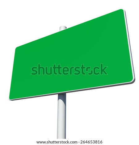 Rectangle green road sign. Isolated on white background
