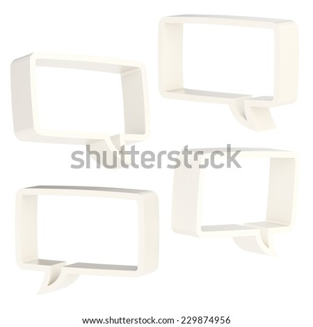 Rectangle shaped white plastic text bubble dimensional shapes isolated over the white background, set of four foreshortenings - stock photo
