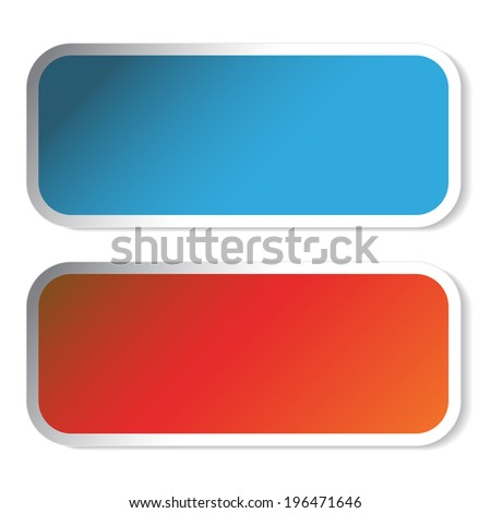 rectangle stickers, button
