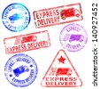 Rectangular and round express delivery rubber stamp  - stock photo