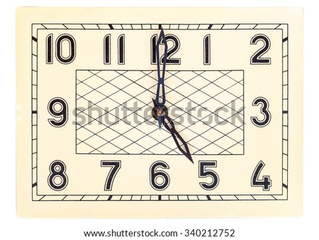 Rectangular art deco design clock face showing five o'clock isolated over white - stock photo