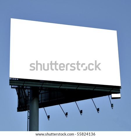 rectangular billboard over blue sky in square composition - stock photo