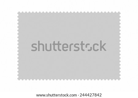 Rectangular blank postage stamp isolated on white background.   The proportion is 2 to 3 - stock photo