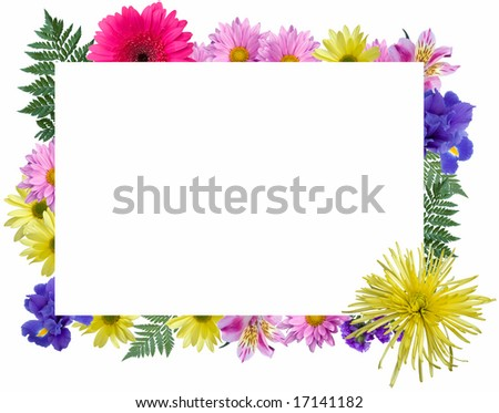 Rectangular Floral Frame. - stock photo