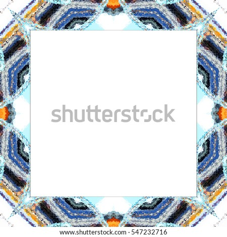 Rectangular frame of symmetrical melting colorful abstract kaleidoscopic pattern with a white empty space inside for your text or image. Aspect ratio 1:1