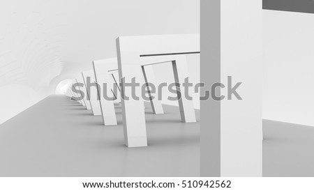 Rectangular Gates on White, a Corridor of Gates, it gives a oppressive Mood, useful as architectural and broadcast background for different Applications (3d rendering)