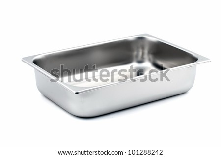 Rectangular Ice-cream shop metal container kitchenware isolated on white background