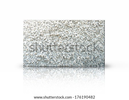 Rectangular placard of stone over white background.