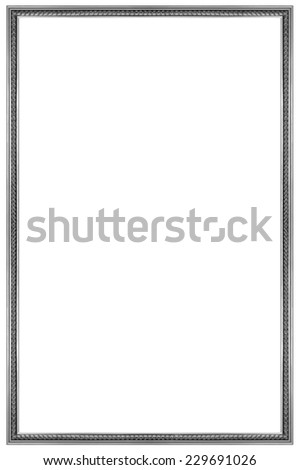 Rectangular Silver Wooden Picture Frame Isolated on white background - stock photo