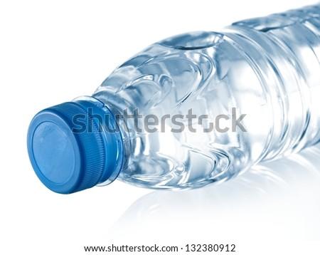 Recumbent small plastic water bottle - stock photo