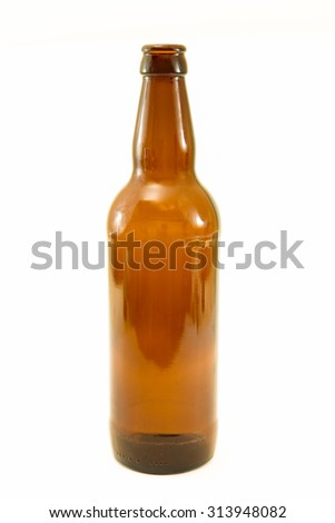 Recyclable brown glass bottle. Recyclable waste series.